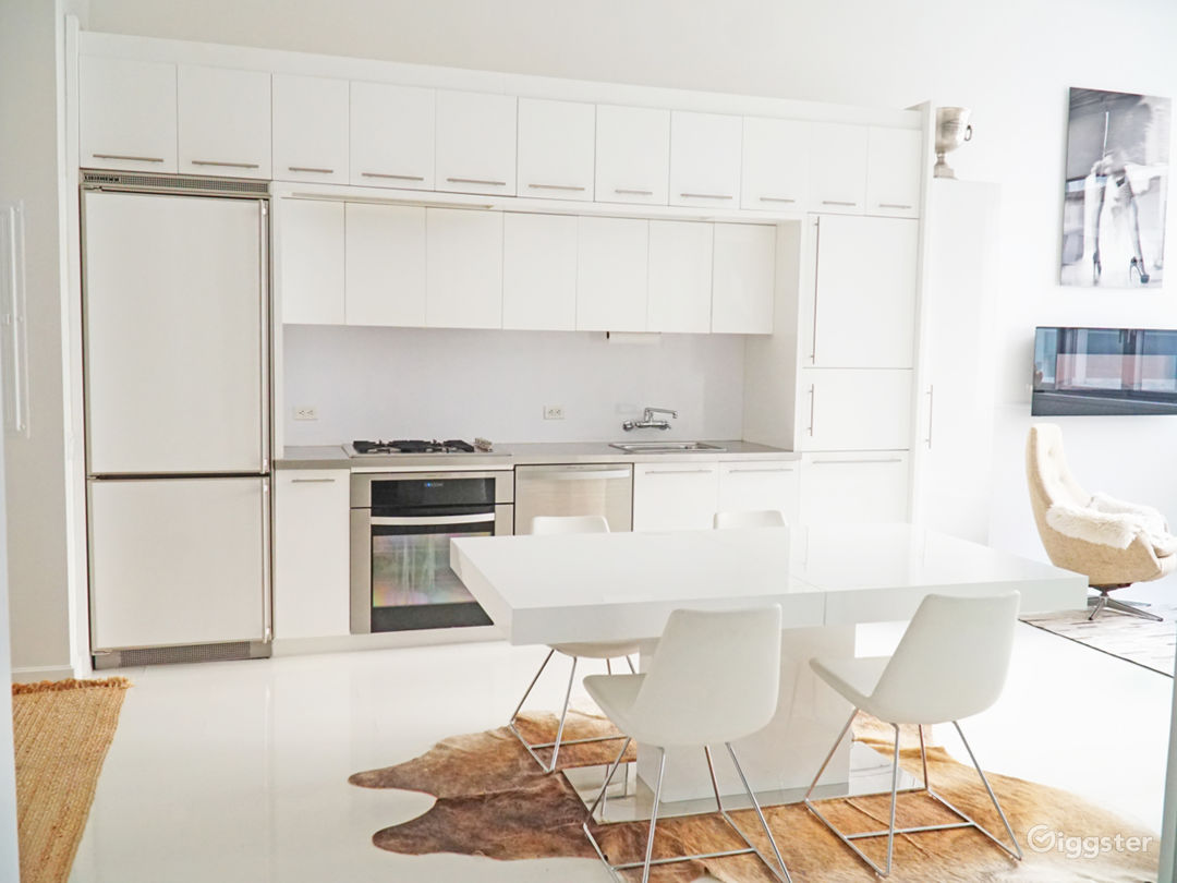 Open Kitchen Italian Design great for shooting at all angles , white floors