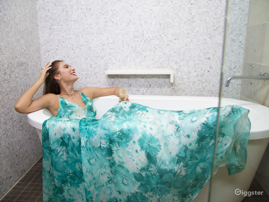 Gown & Champagne in Soaking Tub