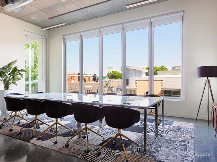 Modern boardroom with city views