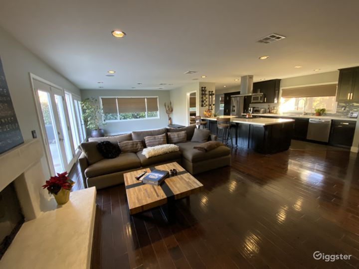 Large open floor plan with clean modern decor.