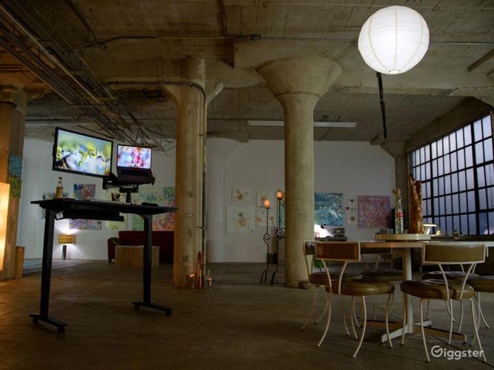 Abstract artist studio live/work DTLA roof access