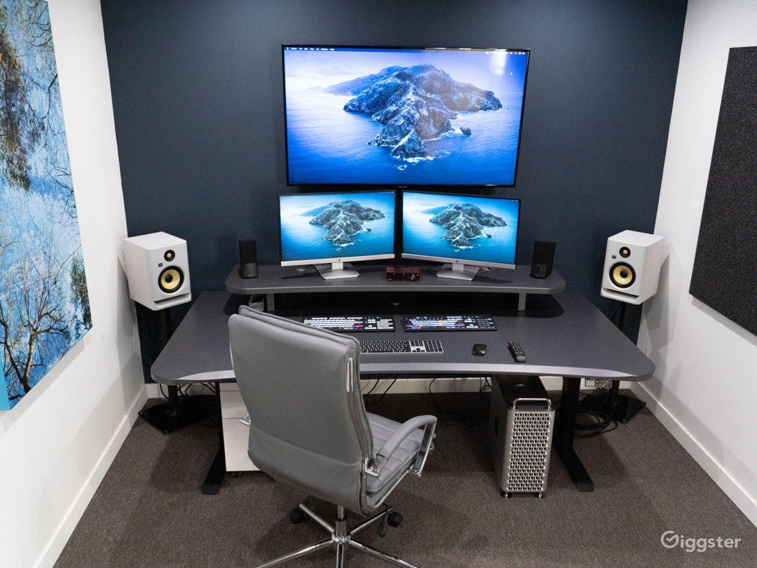 "-Functional Stand/Sit work console - Mac Pro - HDR Smart OLED TV 55"" 4k TV - 2 Monitors / Speakers / 1 TB-SSD Storage. - Final Cut X Software - Adobe Creative Cloud and Adobe Keyboard - Resolve and Resolve Keyboard"