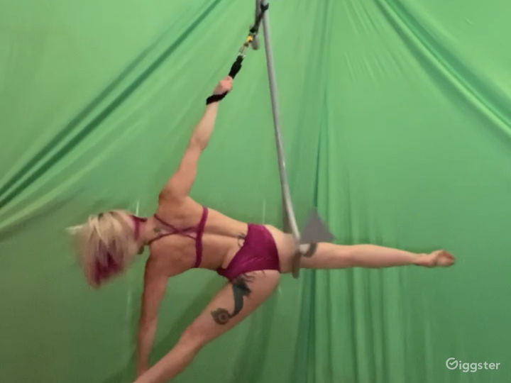 Green screen set up with aerial rig point