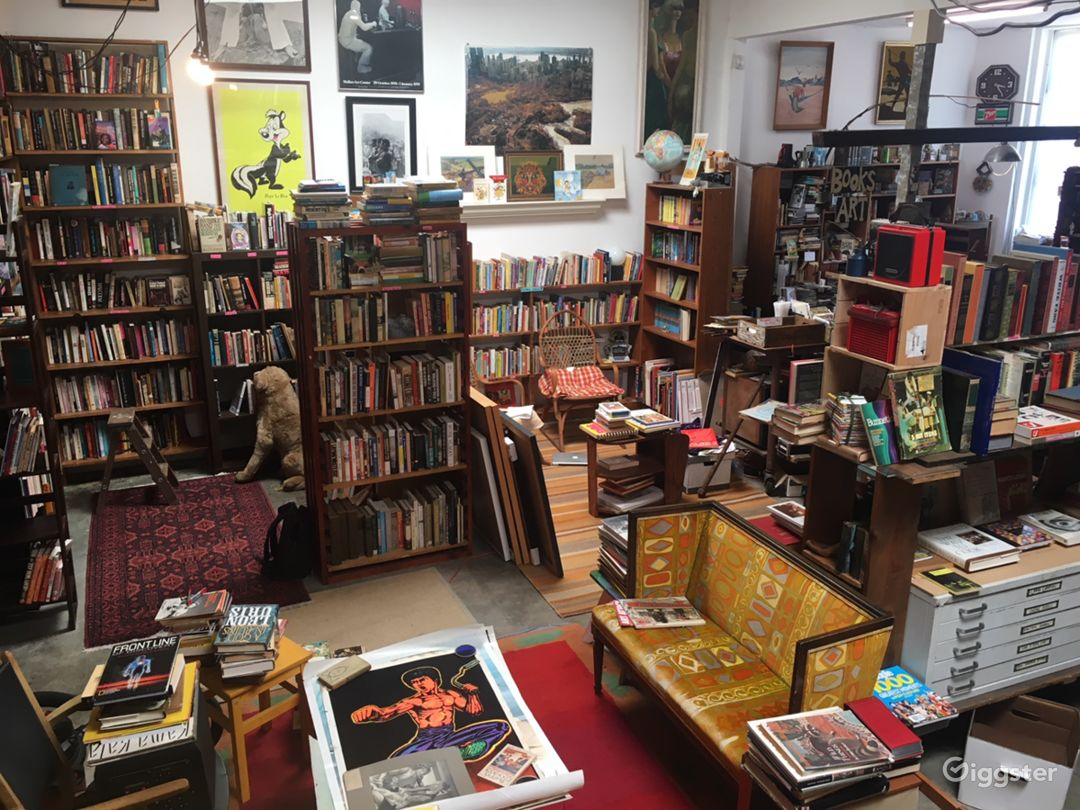 SideShow Books main room is approx. 30' x 40' with bookcases lining the walls and making cozy spaces.  Lots of room to work with.