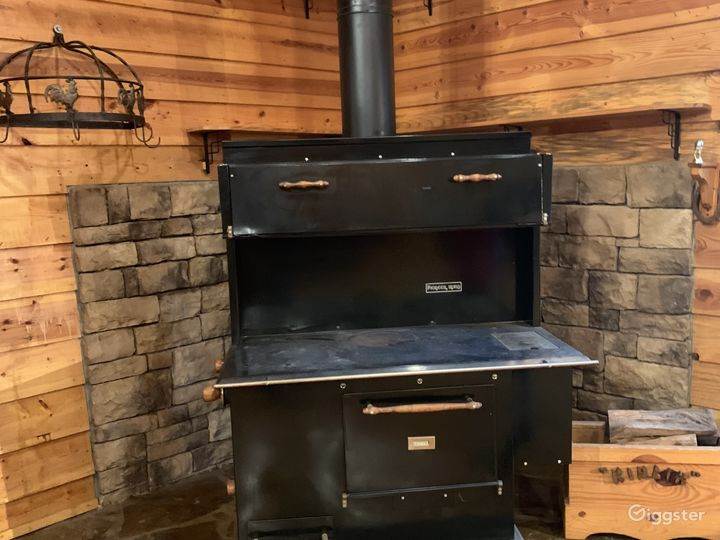Amish stove in the kitchen area