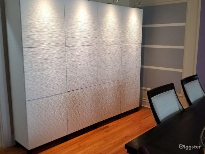 Storage unit with lights on, creates great mood lighting.
