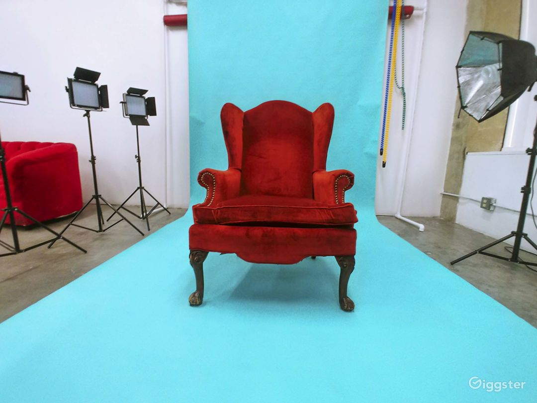 Blue Background Backdrop and Red accent chair. Perfect for birthday, baby shower, or fashion glamour photoshoot