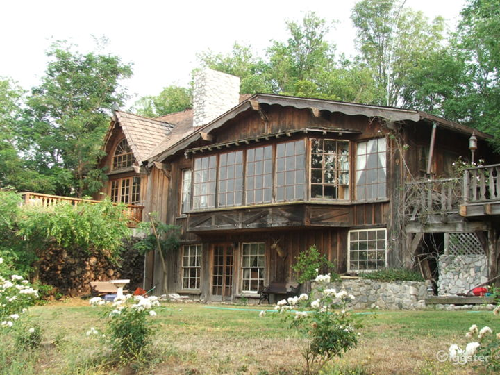 Large wood house in a rustic setting