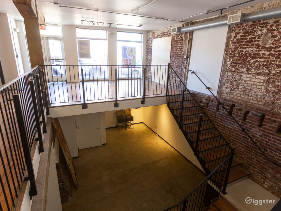 View of downstairs event space from balcony
