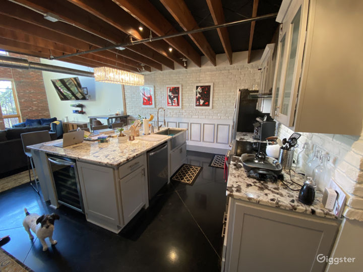 Wide angle view of the kitchen