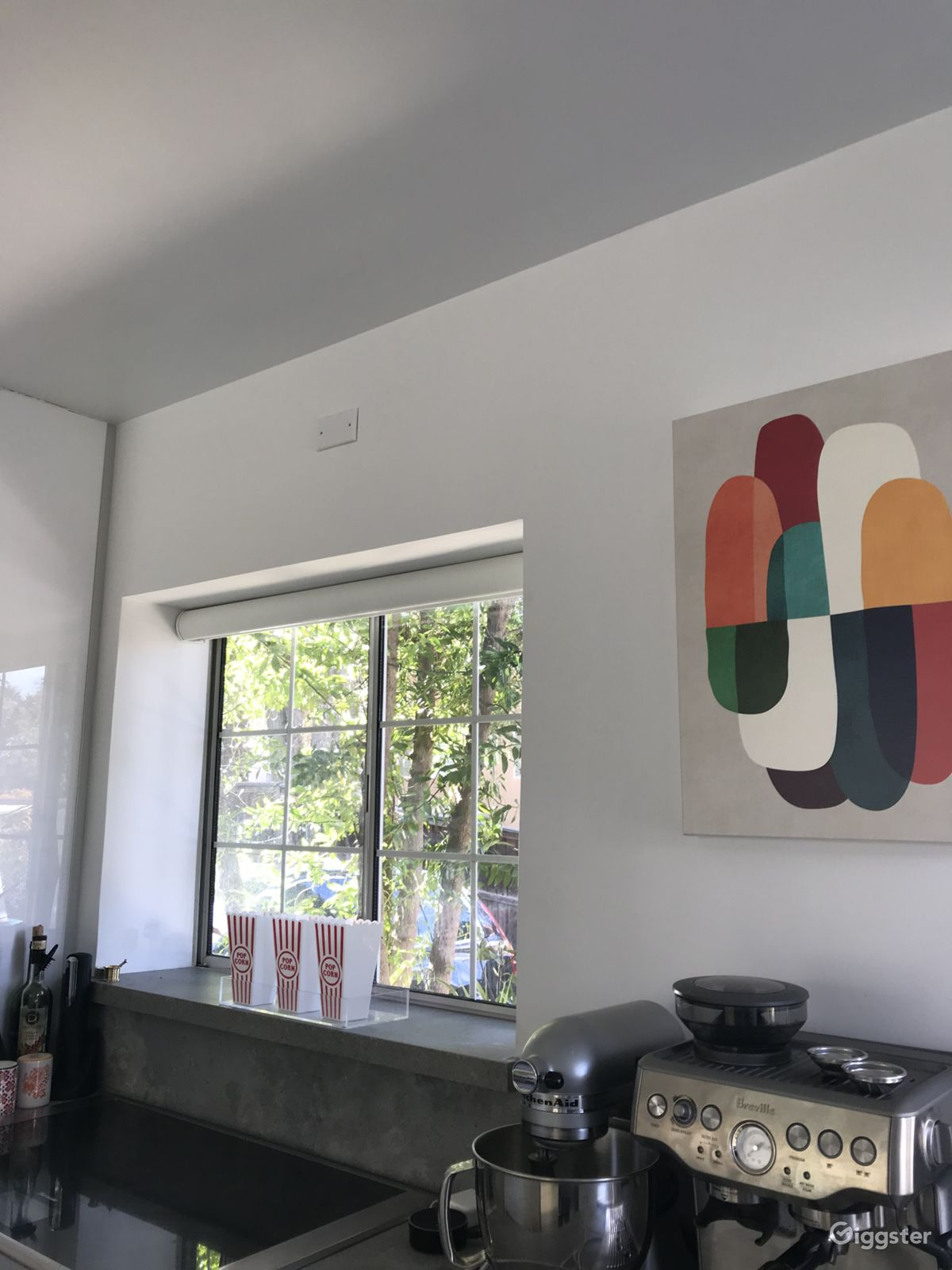 Bright modern minimalist pop art mid century home residential filming location in los angeles