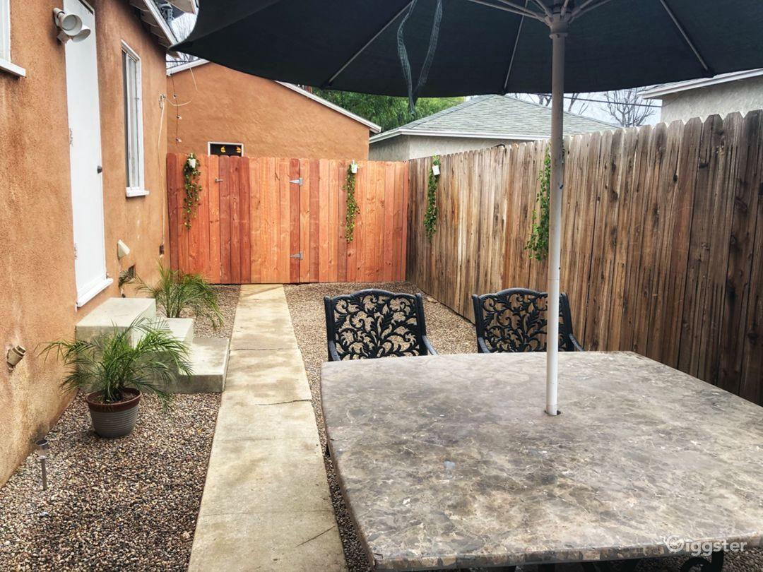 Private fenced patio area