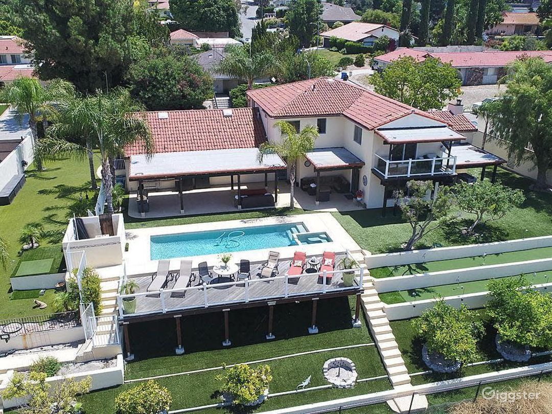 Ariel view of entire property looking East
