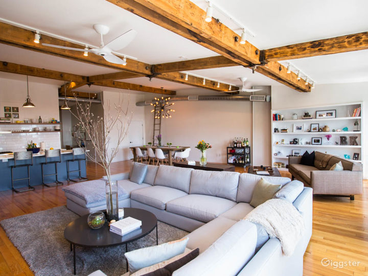 Massive loft space with exposed beams and exposed