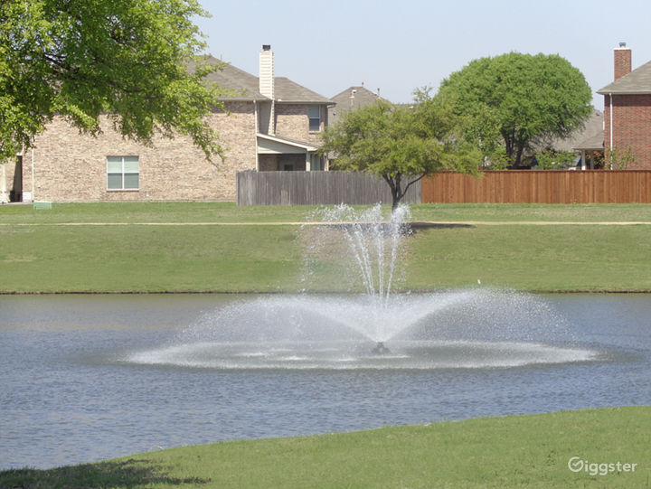 The community lake has five water fountains.