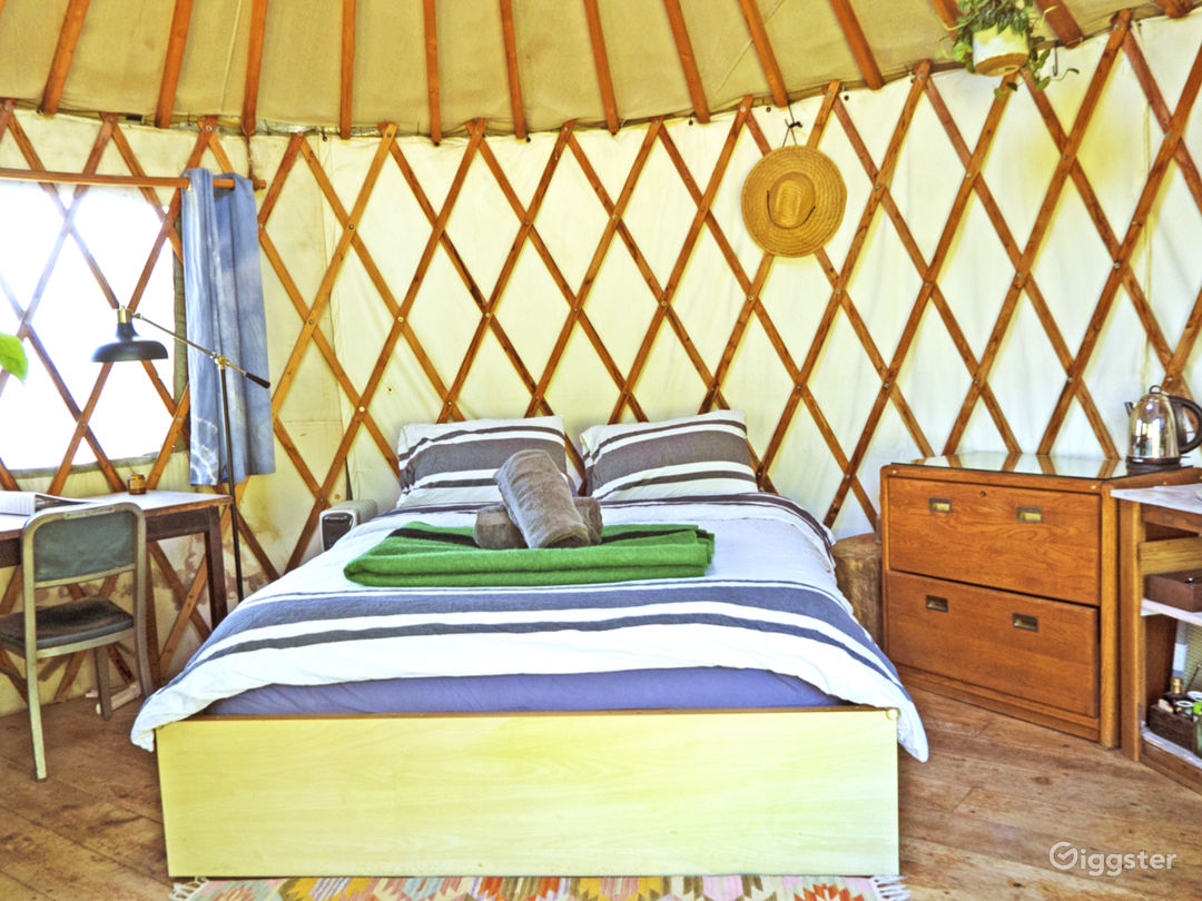 The yurt bed and writing desk.