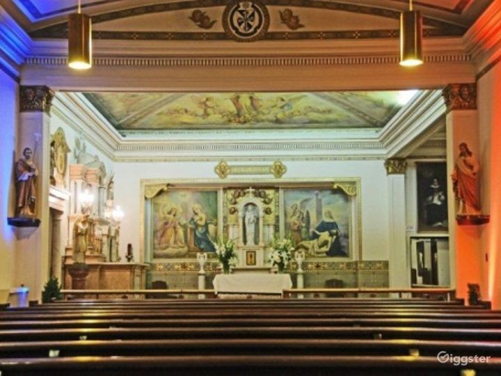 1920s Private Chapel Adorned with Fresco Painting Photo 2