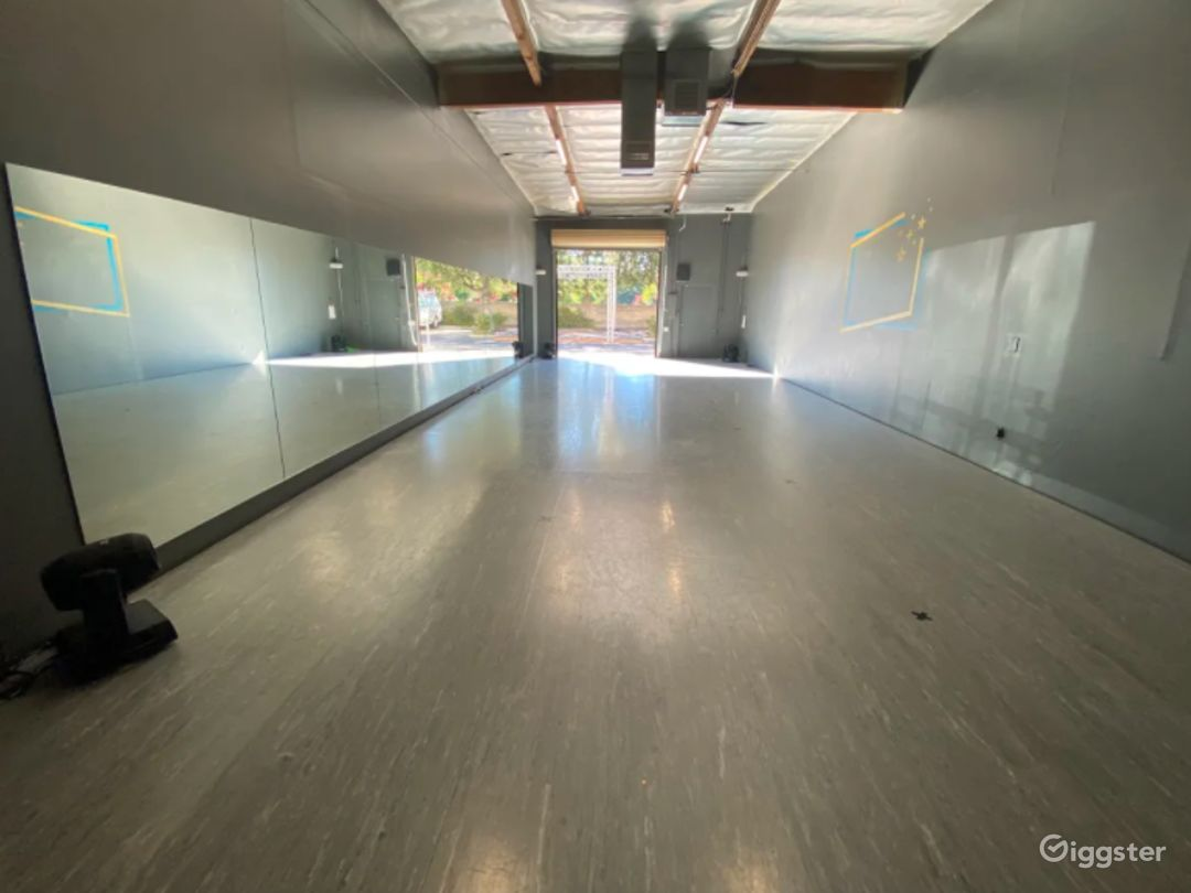 Dance Studio - Mirrors, marley, spring floor, professional sound system & lighting, roll up door for ventilation and natural light option. Overhead loft window for viewing/recording. Barres available.
