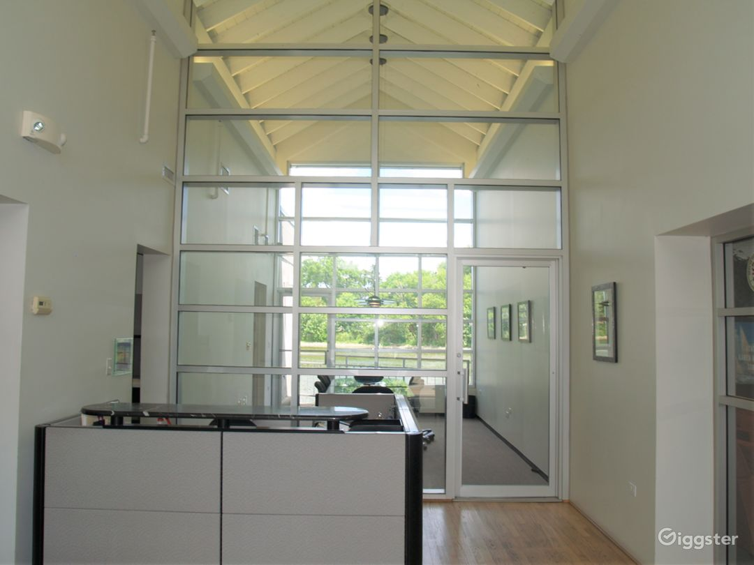Atrium-style entry with reception desk