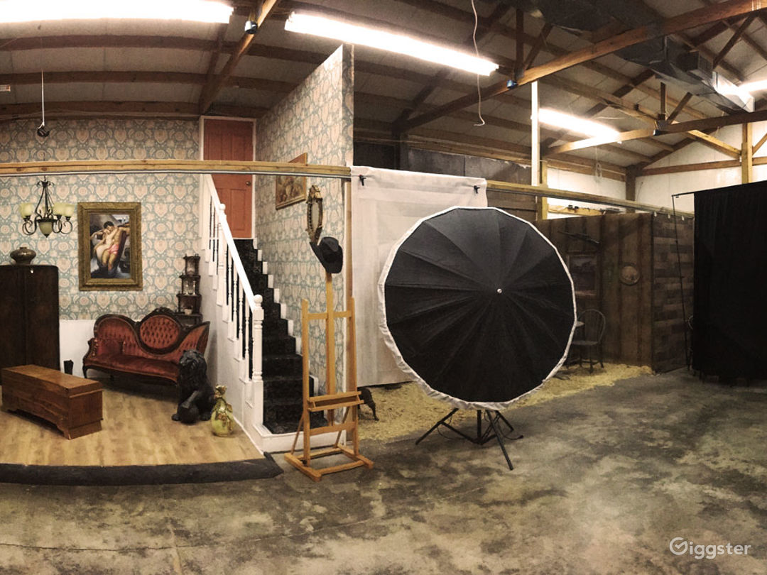 indoor studio sets with movable furnishings, can be refinished, painted, installations, etc.