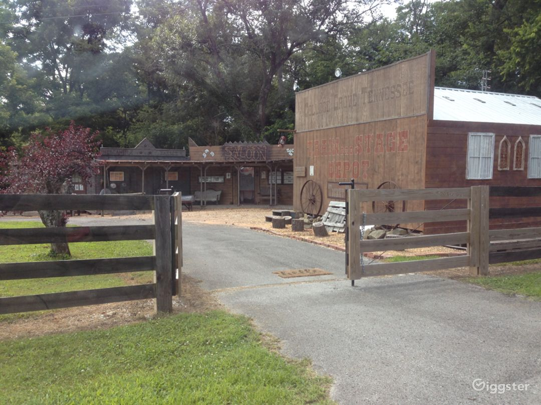 Driveway view, outdoor space, cowboy town with covered boardwalks, fenced area - can accommodate real horses and livestock.