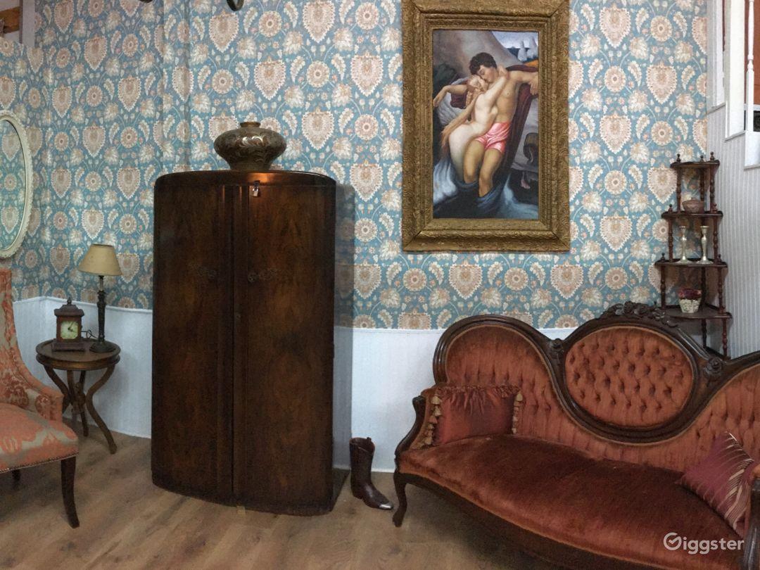 Vintage living room, brothel, Inn, or bedroom with staircase