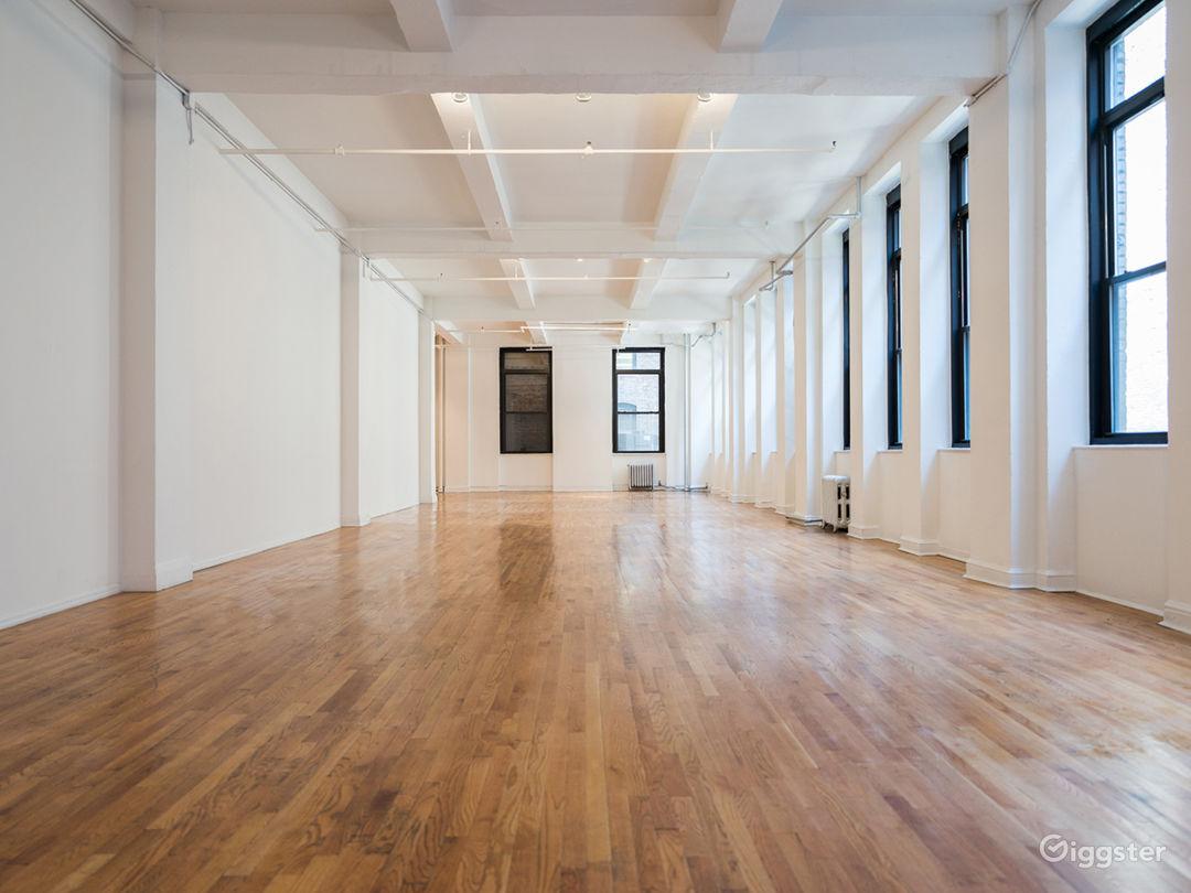 Naturally Lit Wood Floor Yoga Studio New York Rental