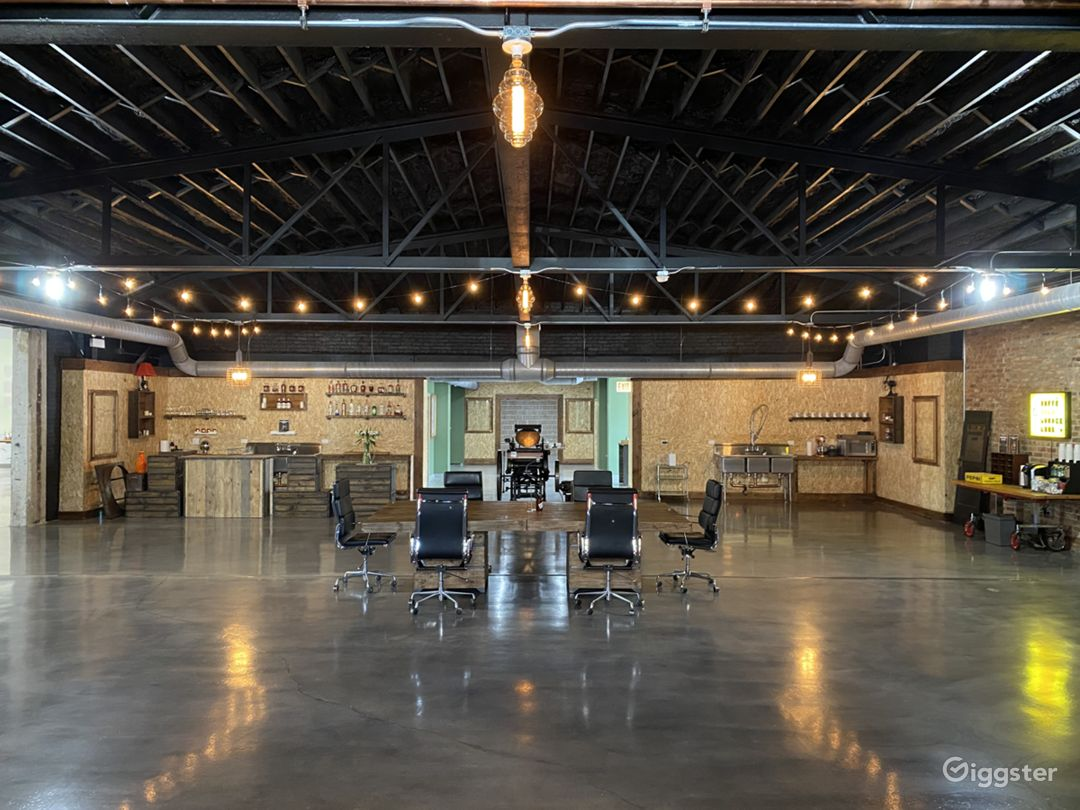 Main open space (3K sf) with original steel bow truss ceiling
