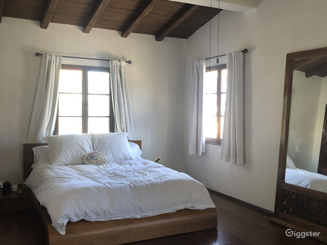 Bedroom (narrow side) with vaulted ceilings