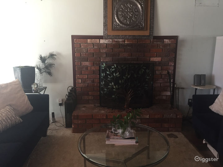 One of two brick wood burning fireplaces