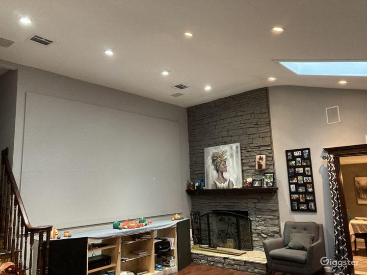 Projector screen in living room