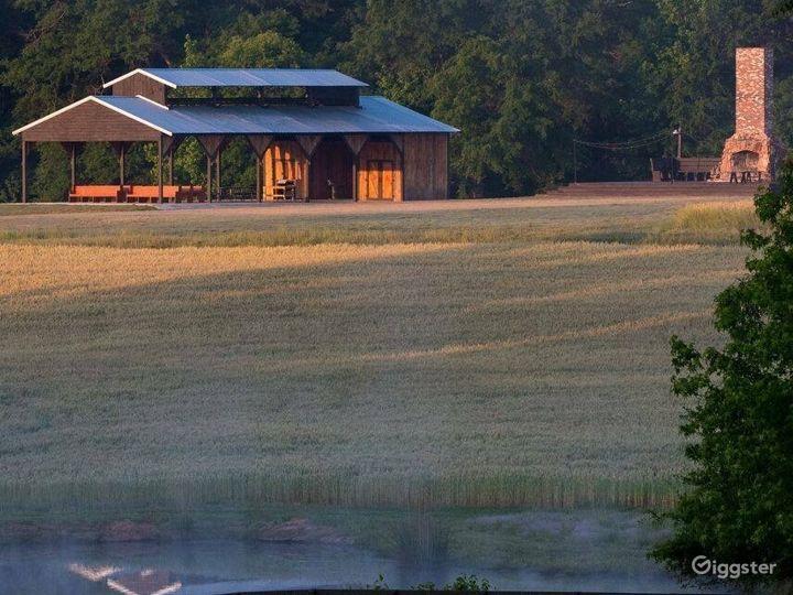 Barn across meadows