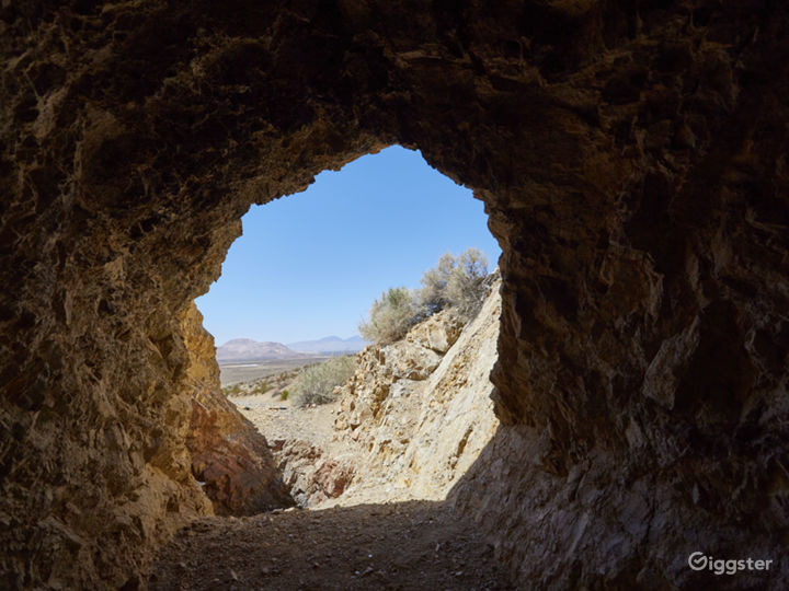 Mining entrance from inside the cave facing west.