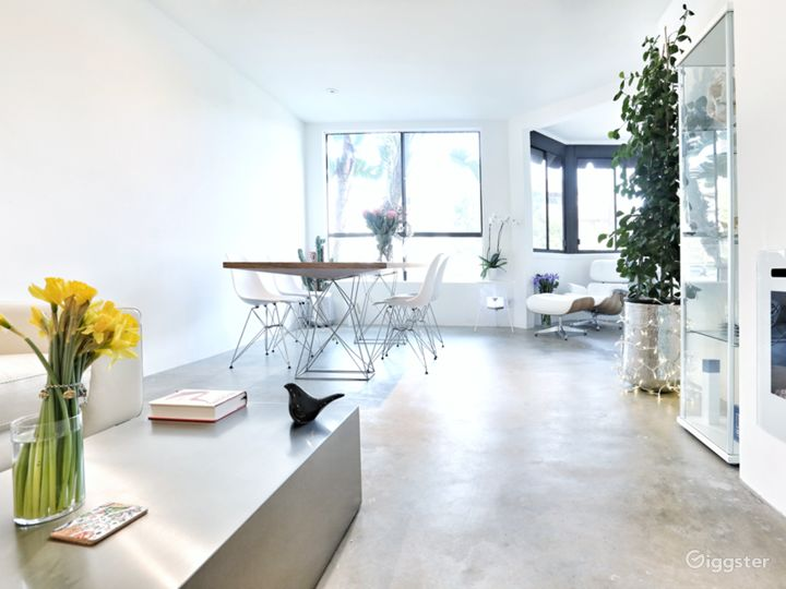 Clean design and airy space of the living room. Charismatic concrete floor gives beautiful light reflection.