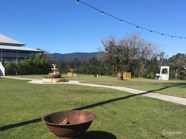 View to Tamborine Mountain on front lawn - games, firepits, photo booth