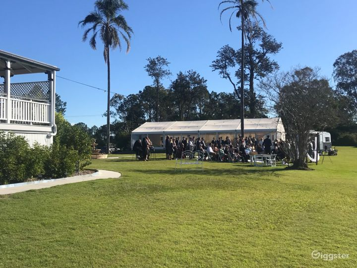 View of tall palms between house and marquee for any occasion