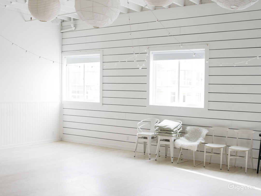North-facing windows. White walls and white-wash floor.