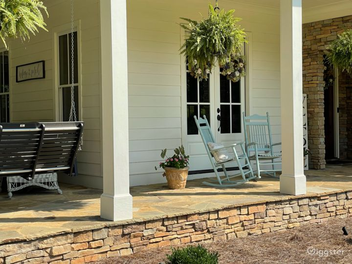 Front porch with fireplace.