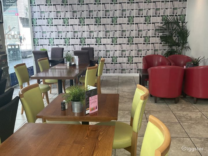 Modern Cafe with Floor to Ceiling Glass Window Photo 3