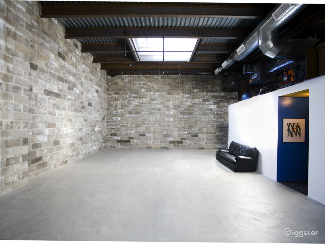 Our popular cinderblock walls with 16ft ceiling height!