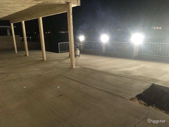 600 sqft lakeside patio w/ firepit (right)