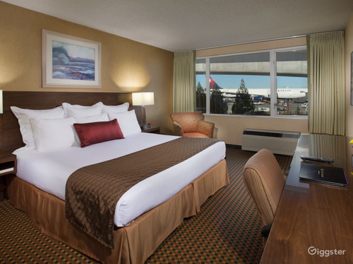 Guestroom with view of airplanes and runways