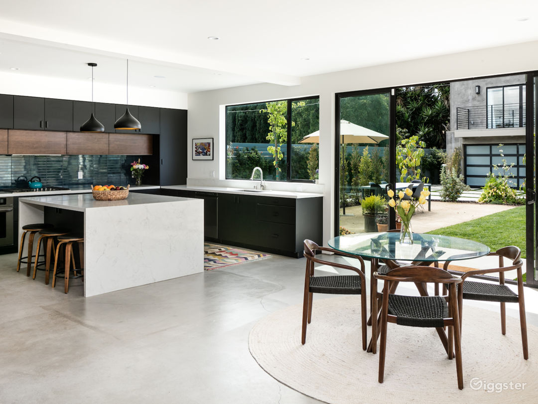 Kitchen with view into backyard