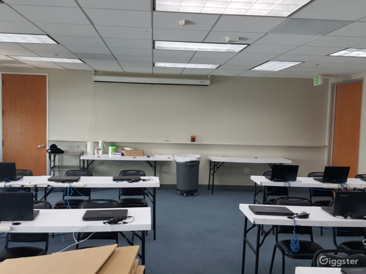 View of our Hepburn room setup classroom style