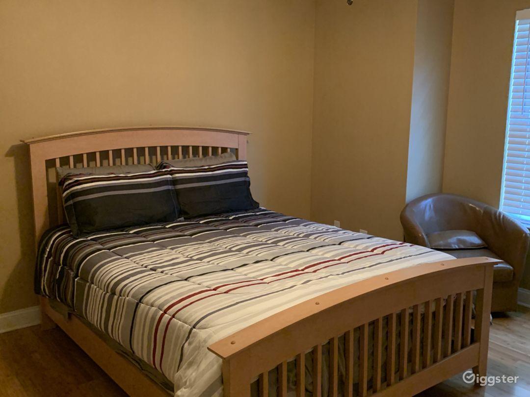 Bedroom 2: Queen bed with tv upstairs