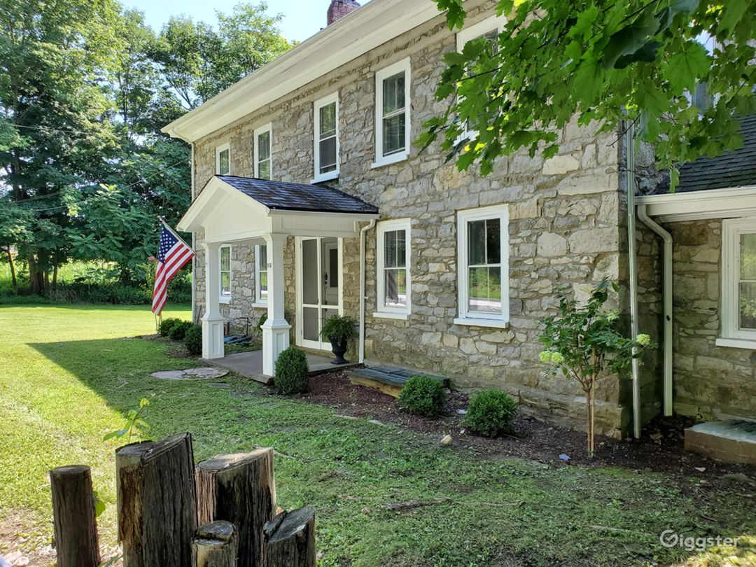 1791 Stone House with rich history on a 22 acre scenic property in Sussex County NJ surrounded by a river, natural spring, forest and lawn.