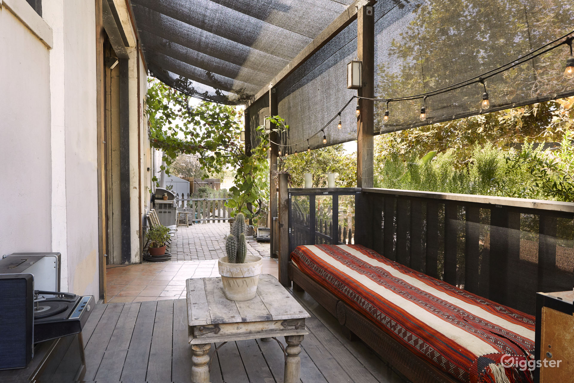 Half of the covered outdoor patio.