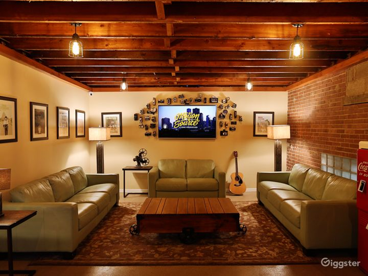 """Lounge: Cushy, cozy, and Wi-Fi ready, our professionally-designed lounge features a refrigerator, microwave, Keurig, printer, and 60"""" TV with streaming capabilities. It's the perfect setting for work. Even better for relaxing."""