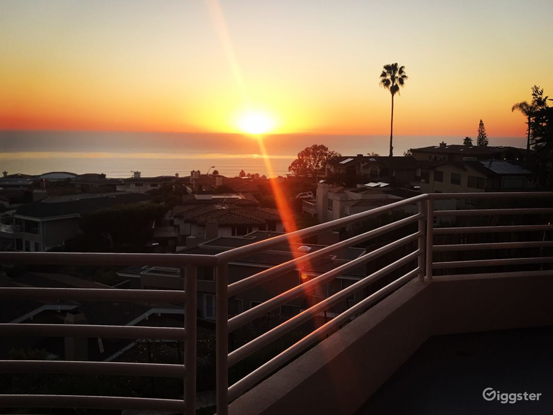 Sunset panoramic ocean view from wrap around front deck.