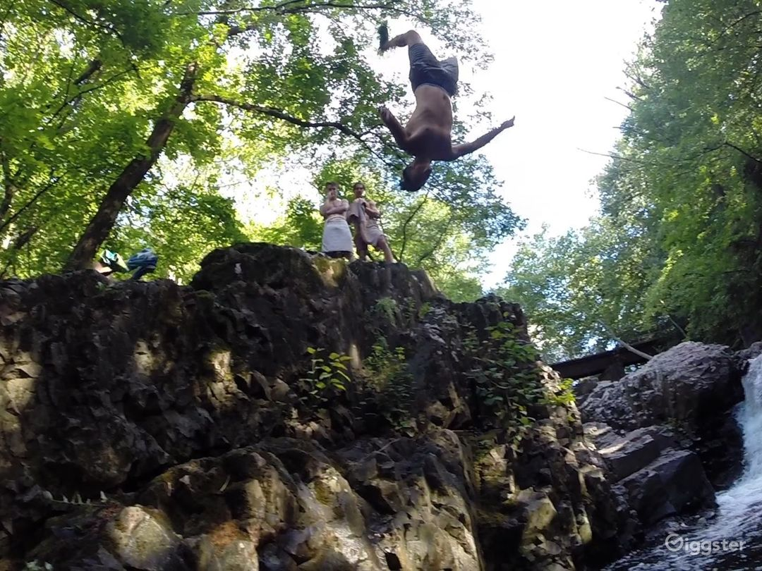 Cliff jumping waterfall